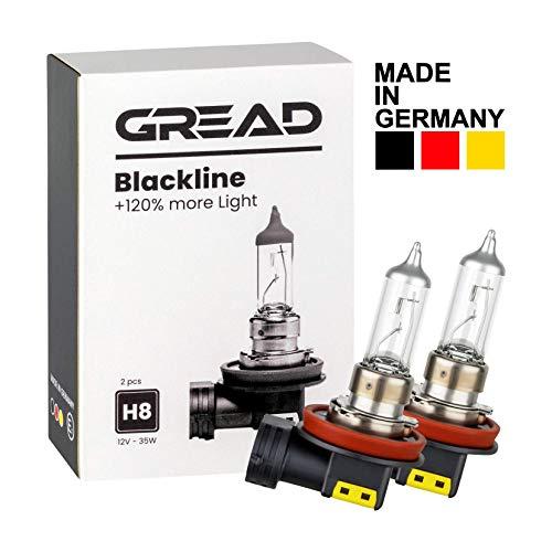 Gread - 2x H8 Halogen Lampen +120% - das Perfomance-Set Blackline