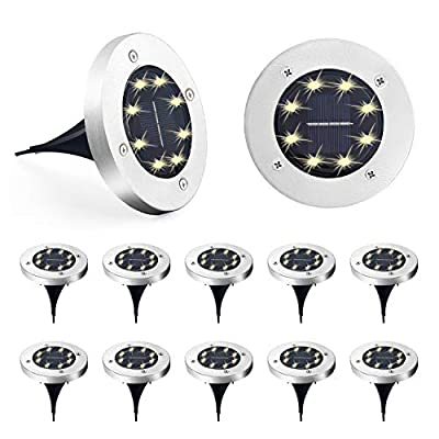  Solar Ground Lights Outdoor 12 Pack 8LED Solar Disk Lights,Waterproof,In ground Solar Garden Lights for Pathway Lawn Yard Roads Walkway Driveway-Warm White