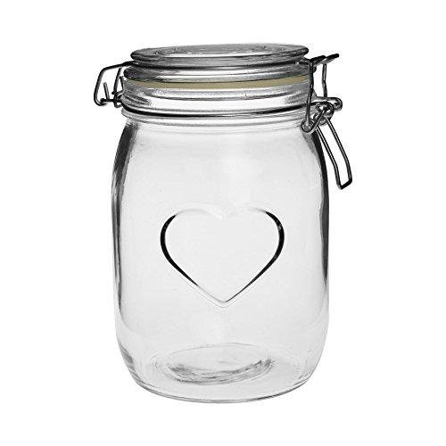 Nicola Spring Heart Design Glass Storage Airtight Food Preserve Jar with Clip Fasten, 1L