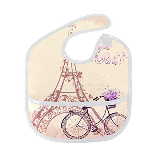 FANTAZIO Paris Eiffeltoren Baby Bib Waterdichte Baby Drooler Bib Wasbaar Pak voor 6-24 Maanden