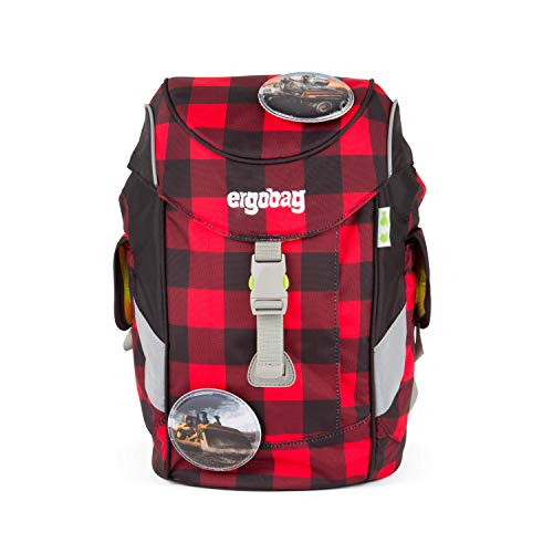 ERGOBAG Mini (Plus) Backpack for Kindergarten Kinder-Rucksack, 26 cm, 10 L, Check Red Black