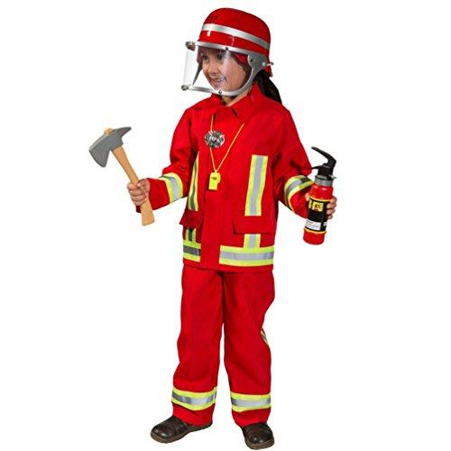 Kostüm Feuerwehr Junge Uniform Feuerwehrmann Anzug Fasching (116, Rot)