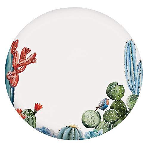 Mantel elástico resistente a las manchas, diseño de cactus con pájaros de dibujos animados, estilo vintage, se adapta a mesas redondas de 40 a 44 pulgadas, para decoración de mesa verde y B