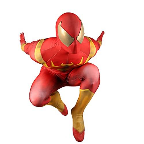 CXYGZLJ Halloween Iron Spider Cosplay Costume, Lycra Spandex Spiderman Jumpsuit Fiesta Fancy Dress Traje Adulto Nios Anime Cosplay Animacin Traje Regalo Cumpleaos,Red-Kids XS