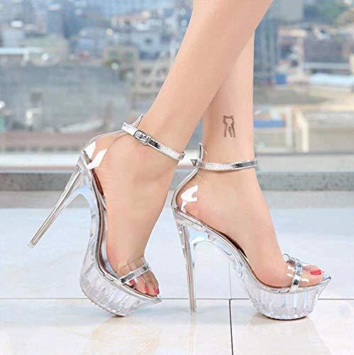 CYGGL Crystal Tacón Alto para Mujer Plataforma Sandalias Peep Toe Tacón Aguja Correa Cruzada Zapatos de Boda Fiesta, Transparente 40EU