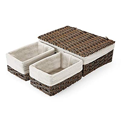 Wicker Storage Baskets with Lid and Handles, SA...