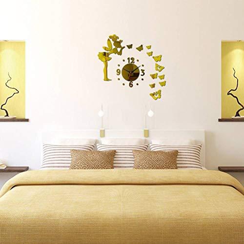 FOMBV Muursticker Stickers vlinder spiegel klok behang huiskamer decoratie muur sticker