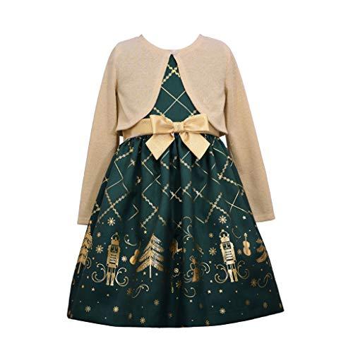 Bonnie Jean Christmas Dress - Green Nutcracker Dress with Gold Cardigan, 2T