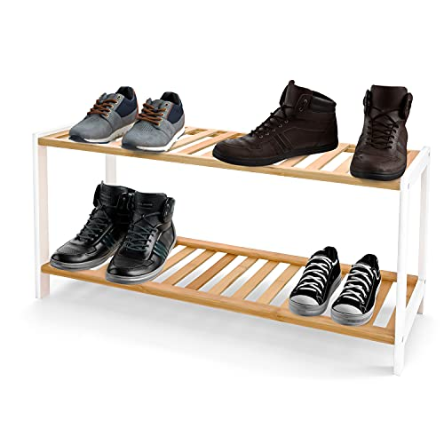 KEPLIN Bamboo Shoe Rack, Easy Build With 2 Shelves, Large Storage Capacity Wooden Shoe/Trainer Stand and Organiser, up to 6-9 Pairs, Perfect for Hallway, Bedroom, Small Spaces Brown/White (2 Tier)