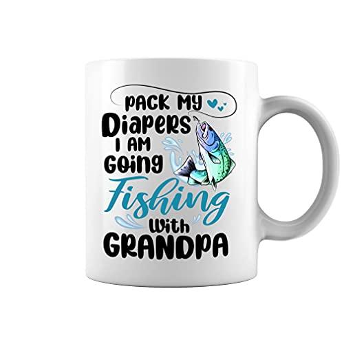 Pack My Diapers I Am Going Fishing with Grandpa Baby Onesie Taza de café de cerámica taza de té (negro, 11 oz)