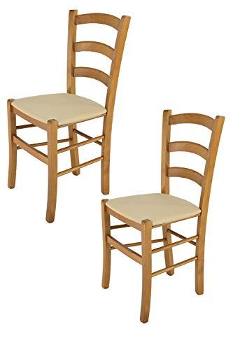 Tommychairs - Set 2 sillas Venice para Cocina y Comedor, Estructura en Madera de Haya Color Roble y Asiento tapizado en Tejido Color cáñamo