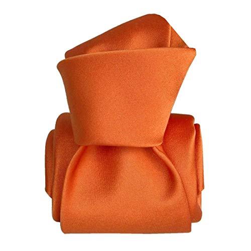 Segni et Disegni. Cravate artisanale. satin faite main, Soie. Orange, Uni. Fabriqué en Italie.