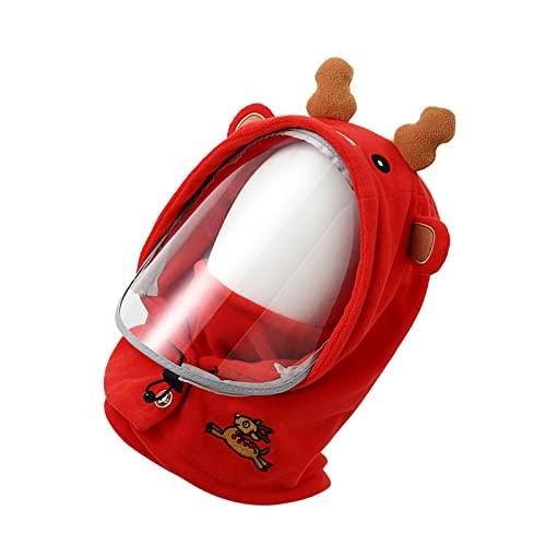 YAHOM Sombrero cálido de invierno para niños, gorra a prueba de frío, sombreros cálidos para ciclismo con cubierta facial transparente, gorras de chal para niños y niñas de 3 a 10 años