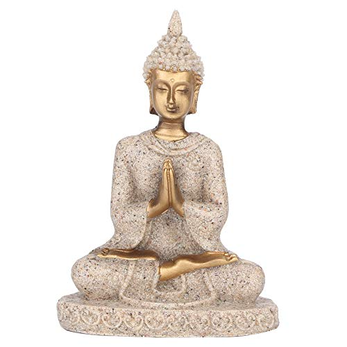 Buddha Statue Meditating Seated Carving Figurine Craft for Home Desktop Decoration Ornament