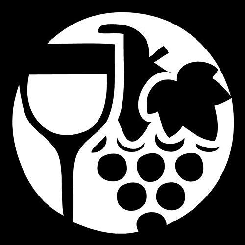 CANGZHOUXIYU Etiqueta engomada del Coche de Polietileno Etiqueta 15.7cm * 15.7cm Copa de Vino y Uvas círculo de la Manera del Vinilo del Coche de la Etiqueta Negro/Plata (Color Name : Silver)