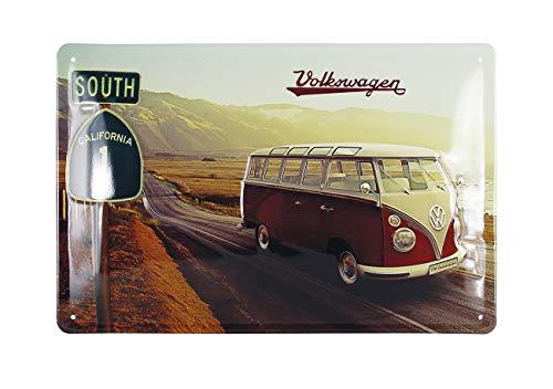 BRISA VW Collection - Volkswagen Combi Bus T1 Camper Van Plaque métallique, Signe de métal avec Motif Rétro, Vintage - Objet de Collection/Idée Cadeau/Décoration Murale (Highway 1 / 20x30 cm)