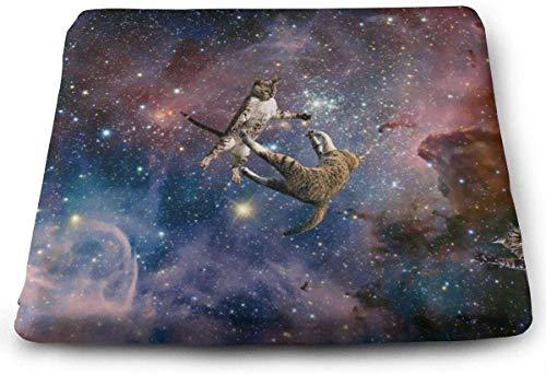 N/A - Cojín de Asiento Grande para Silla de Ruedas o Silla de Ruedas, cojín de Espuma viscoelástica Que Mejora la Postura, el Apoyo y Revive la Espalda y la ciática (Galaxy Stars Space Wars Cats)