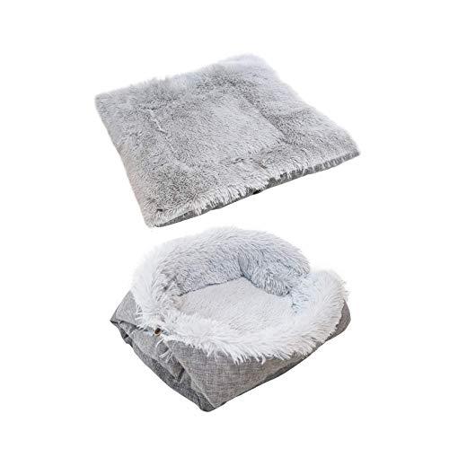 Cama para mascotas para gatos perros pequeños, función 2 en 1, manta suave y donut gris para portátil interior y exterior