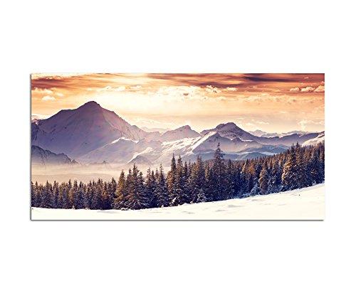 120x60cm - Fotodruck auf Leinwand und Rahmen Winterlandschaft Schnee Berge Wald - Leinwandbild auf Keilrahmen modern stilvoll - Bilder und Dekoration