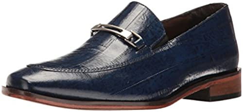 STACY ADAMS Men& 039;s Santiago-Moc Toe Bit Slip Loafer, Blau, 13 W US