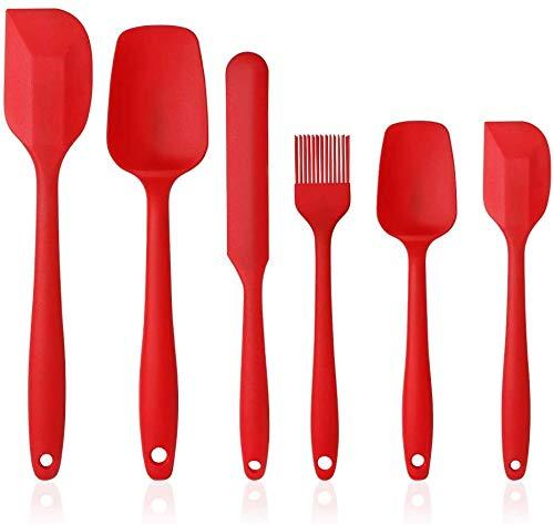 Juego de 6 juegos de cocina de silicona que incluyen cepillo, cuchara, espátula, antiadherente y resistente al calor, espátula de silicona para cocinar y hornear, lavavajillas apto (ROJO)