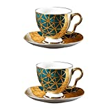 WCNMD Conjunto de té de Taza de café Reutilizable Libre de Plomo y sin cadmio, Taza de té de cerámica de Taza de té y platillo, Adecuado para, café Espresso, té de Flores y té (Size : 2PIECE Set)
