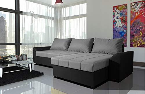Home Direct Modernes Wohnzimmer Ecksofa Eckcouch Sofa mit Bettkasten Ottomane Schlaffunktion L7-G2B (L7-G2B-PMAL-SZ83-SZ96-11, Ecksofa Rechts)