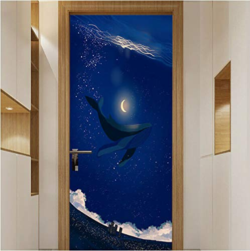 ZPCR Self Adhesive 3D Door Sticker Home Decor Night View Waterproof Canvas Print PVC Poster Wall Art Picture Suit for Children Room