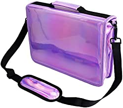 YOUSHARES 160 Slots Holographic Pencil Case - Laser PU Plating Color Large Capacity Zipper Pen Bag for Prismacolor Watercolor Pencils, Crayola Colored Pencils, Marco Pens & Cosmetic Brush (Purple)