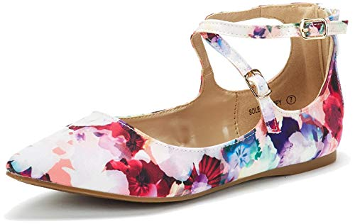DREAM PAIRS Women's Sole-Strappy Floral Ankle Straps Flats Shoes - 9.5 M US