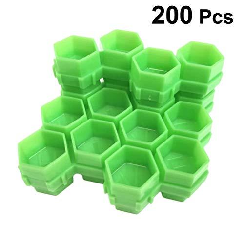 HEALLILY 200 Pcs Tatouage Encre Casquettes en Plastique Tasses d'encre Permanent Cils Maquillage Sourcils Tatouage Tatouage Pigment Conteneur (Vert)