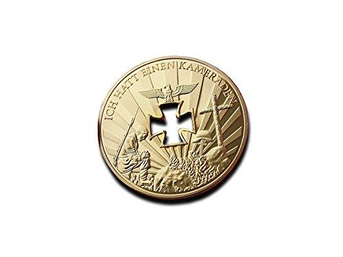 Cruz mi corazón 40 mm Alemania alemán Guerra Mundial 1 o 2 1914 1945 Chapado en Oro Moneda Token I Never Forgot A COMERADE Ich Hatt Einen Kameraden Niemals vergessen