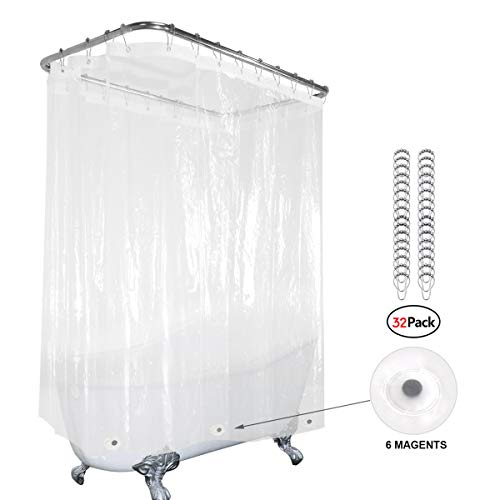 Riyidecor Clear Clawfoot Tub All Around Shower Curtain 180x70 Inch with Magnets Wrap Around Bathroom Shower Panel Set Extra Wide 32 Pack Shower Hooks Included Heavy Duty