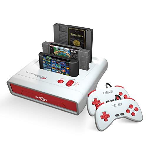 Retro-Bit Super Retro Trio HD Plus 720P 3 in 1 Console System (2019) for Original NES, SNES, and Sega Genesis Games - Red/White (Best Snes Classic Games)