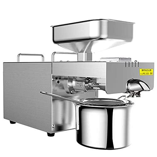 Prensa de aceite automática, pequeña prensa de aceite de acero inoxidable, prensado en caliente y en frío, arranque con una sola tecla, adecuado para molinos domésticos / comerciales / de aceite