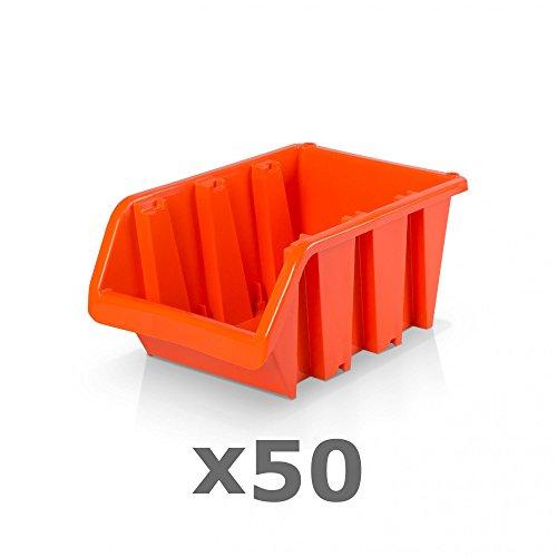 50 Stück Sichtlagerboxen Größe 3 - rotbraun (19,5 x 12 x 9 cm)