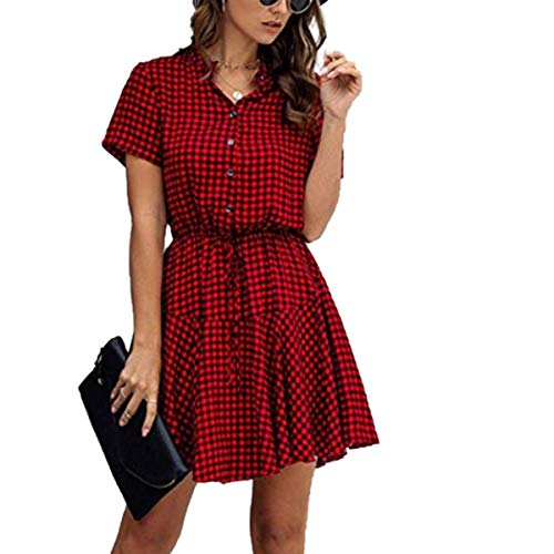 Kakaxi Women's Casual Plaid Smock Dress Ladies Slim High Waist Sundress Button Beach Holiday,B,S