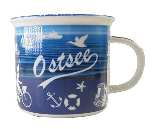 osters muschel-sammler-shop Kaffeebecher Weiss/blau mit maritimen Muster ┼ Ostesse ┼ Nordsee ┼ Teebecher ┼ Strandtasse-Becher ┼ Geschenk-Artikel (Ostsee)