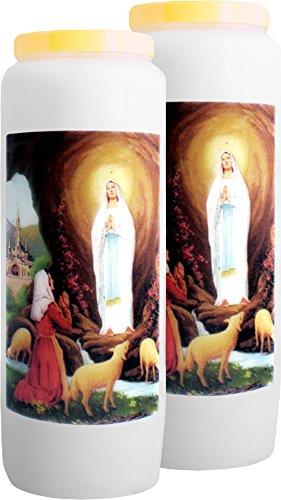 Juego de 2 velas neuvaines – Nuestra Señora de Lourdes, la Immaculée conception – brûle 9 DÍAS/100% vegetal