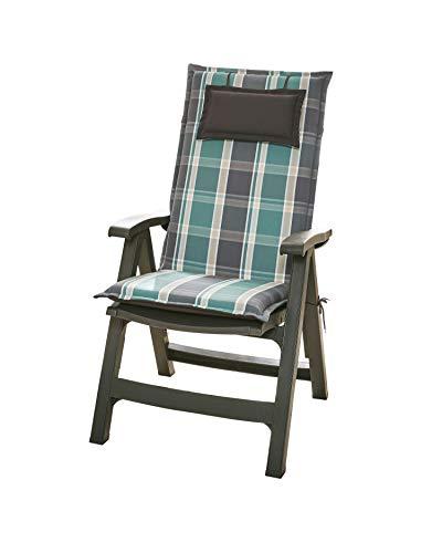 Homeoutfit24 Donau - Cojín Acolchado para sillas de jardín, Hecho en Europa, Respaldo Alto, Poliéster, Resistente a los Rayos UV, Relleno de Espuma, 120 x 50 x 6 cm, 2 Unidades, Gris/Verde Oscuro