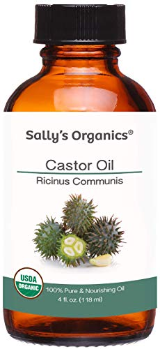 4oz Pure Organic Castor Oil - Included Eyelash and Mascara Brush - Hexane-free, Cold Expeller Pressed & Best for Eyelashes, Eyebrows, Hair Growth, Scalp, Soap, Scalp & Shampoo, Heat Packs and Skin Uses