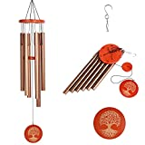 Wind Chimes Outdoor Large Deep Tone, 36 Inch Wind Chimes Gifts With 6 Metal Tubes and Hook, Sympathy Wind Chimes for Outside Garden Patio Home Yard Hanging Decor