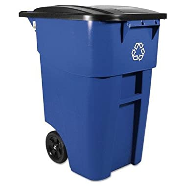 Rubbermaid Commercial Products BRUTE Rollout Waste/Utility Container, 50-gallon, Blue (FG9W2700BLUE)