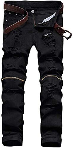 LOSIBUDSA Men's Skinny Slim Fit Straight Ripped Destroyed Distressed Zipper Stretch Knee Patch Denim Pants Jeans (Black 1, 32)