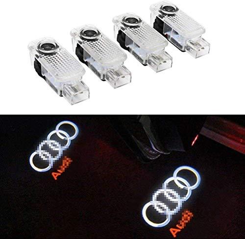 HosDevice Autotür Logo Licht, 4 Pack LED Auto Projektor Logo Ghost Shadow licht türbeleuchtung Willkommen Lampe für Audi A8 A7 A6 A5 A4 A3 A1 R8 TT Q7 Q5 Q3