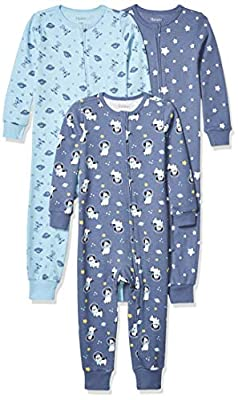 Hanes Ultimate Baby Zippin 3 Pack Sleep and Play Suits, Sky, 12-18 Months