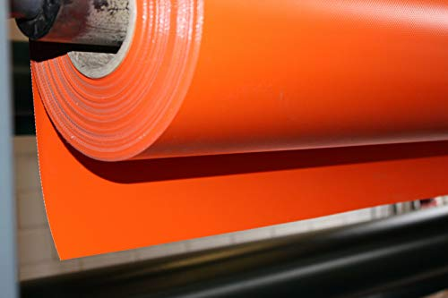 Lkw Plane 700 g Orange Meterware PVC Plane, Abdeckplane, sehr hochwertig, beidseitig lackiert, leicht abwaschbar, 100% Wasserdicht, hohe UV Beständigkeit, hohe reißfestigkeit (1,00 m x 2,50 m, Orange)