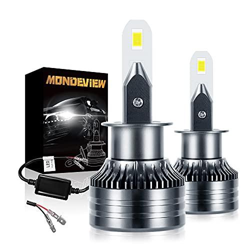 MONDEVIEW Kit Bombillas LED H1 60W 16000LM 6000K H1 Bombilla LED Coche y Motocicleta Brillo Extremadamente Alto Chip LED CREE Luz de Carretera 360° Luces Antiniebla Haz Bajo Bi-xenón 5 Años Garantía