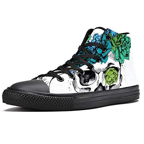 TIZORAX Totenkopf mit Sukkulentenpflanzen, hohe Sneakers, modische Schnürschuhe, Canvas-Schuhe, leger, Schule, Wanderschuh für Herren und Jungen, Mehrfarbig - mehrfarbig - Größe: 43 1/3 EU
