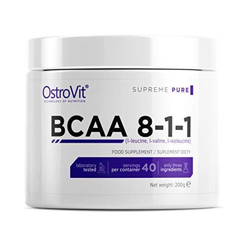 BCAA 8-1-1 200g puro sin sabor | Suplemento alimenticio de grado farmacéutico | Aminoácidos de cadena ramificada | L-leucina | L-isoleucina | L-valina | Polvo anabólico y anticatabólico de culturismo